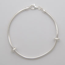 Sterling Silver Snake Bracelet 2.8mm with Bead Stoppers