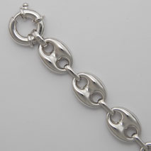 Sterling Silver Hollow Puff Gucci 13.3mm Bracelet, Rhodium