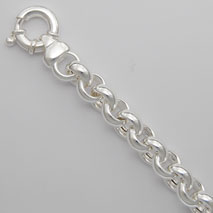 Sterling Silver Hollow Rolo Bracelet 10.5mm