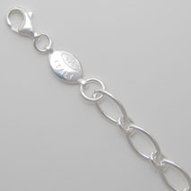 Sterling Silver Oval Link 1+1 Bracelet 8.0mm