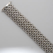 Sterling Silver Basketweave 17.1mm Bracelet, Rhodium