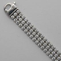 Sterling Silver Triple Wide Cubic Zirconia Bracelet