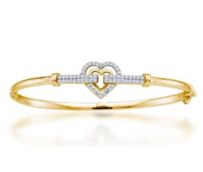 Ladies Small Heart Diamond Bangle Bracelet