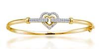 Ladies Small Heart Diamond Bangle Bracelet 1.03 Carat Total Weight