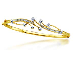Ladies Diamond Cluster Bangle Bracelet