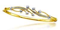 Ladies Diamond Cluster Bangle Bracelet 0.12 Carat Total Weight