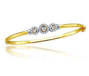 Ladies Diamond Flower Bangle Bracelet