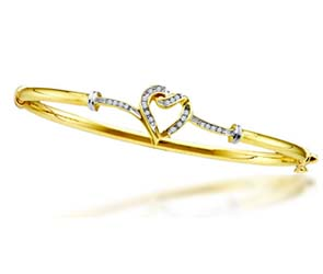 Diamond Heart Bangle Bracelet