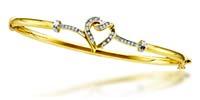 Diamond Heart Bangle Bracelet 1/10 Carat Total Weight