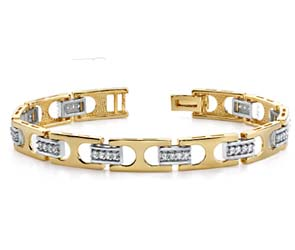 Mens Diamond Buckle Link Bracelet