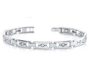 Single Diamond Buckle Link Bracelet
