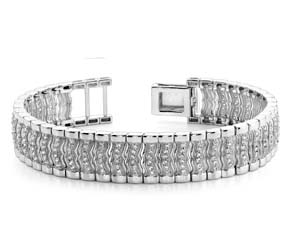 Mens Wavy Diamond Link Mens Bracelet