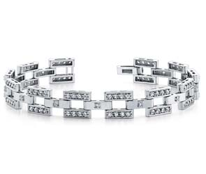 Diamond Checkerboard Mens Bracelet