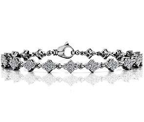 Flower Cluster Link Diamond Bracelet