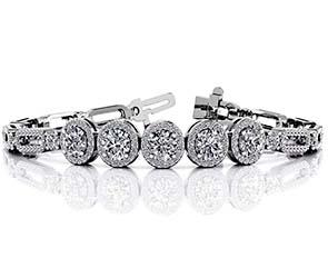 Enchanting Five Halo Diamond Bracelet