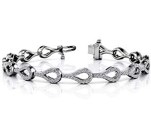 Elegant Teardrop Link Diamond Bracelet