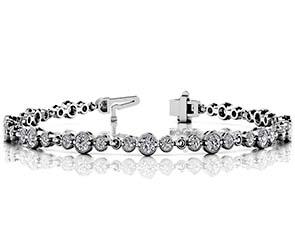 Vintage Milgrain Three Diamond Chain Link Bracelet