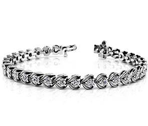 Diamond Flower Link Tennis Bracelet