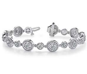 Double Diamond Circle Link Bracelet