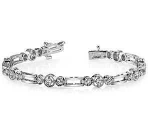 Three Across-Bridge Link Diamond Bracelet