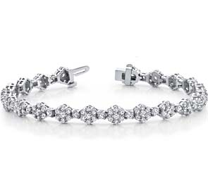 Cluster Link Diamond & Colored Stone Bracelet