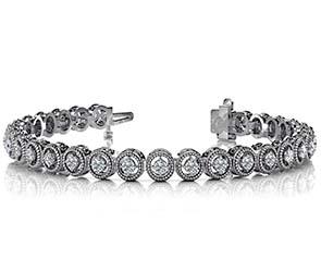 Circle Filigree Diamond Link Bracelet