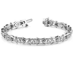 Vintage Marquis Link Diamond Bracelet