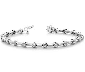 Round Millgrain Diamond Column Link Bracelet
