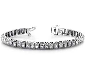 Millgrain Square Link Diamond Bracelet