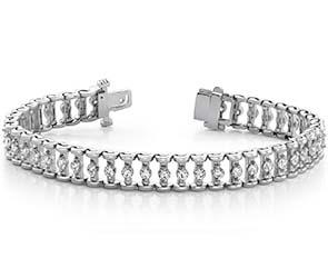 Candlestick Link Diamond Bracelet