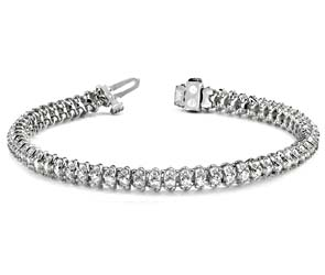 Three Row Diamond Scoop Link Bracelet