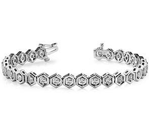 Hexagon Link Diamond Bracelet