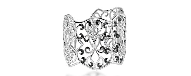 silver black diamond cuff bracelet 68703 usa jewels