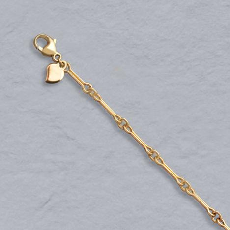 7-Inch 14K Yellow Gold Dog Bone Link Bracelet