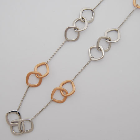7.5-Inch 14k White Gold / Rose Gold Square Links and Cable