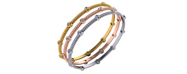 3e573a017e4 Tri Color Beaded Collection Bangle Bracelet 3 Carat Total Weight