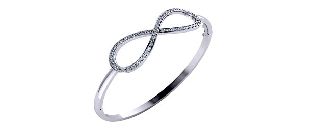 Infinity Sign Bangle Bracelet 1.1 Carat Total Weight