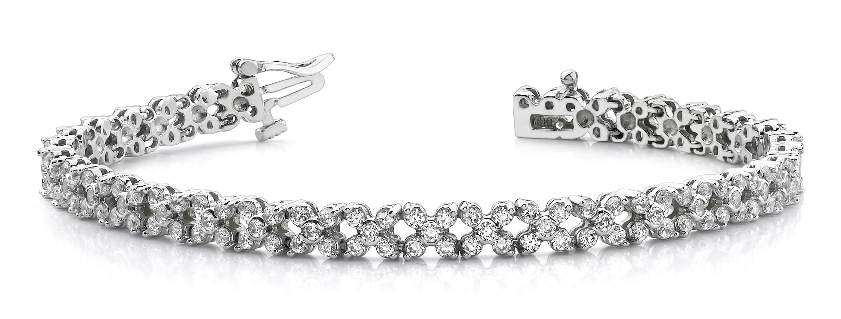 Diamond Round Flower Bracelet 3.91 Carat Total Weight