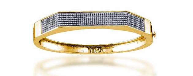 Micro Pave Diamond Bangle Bracelet 1.03 Carat Total Weight