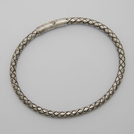 8-Inch Sterling Silver Chalif 3.8mm Bracelet, Crocodile Clasp, Oxidized