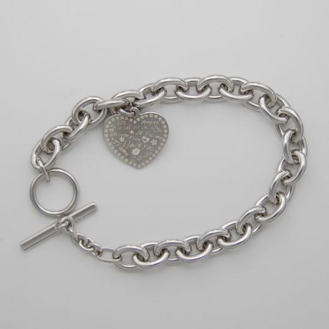 8-Inch Sterling Silver Cable 8.5mm, Heart Charm, Toggle Clasp
