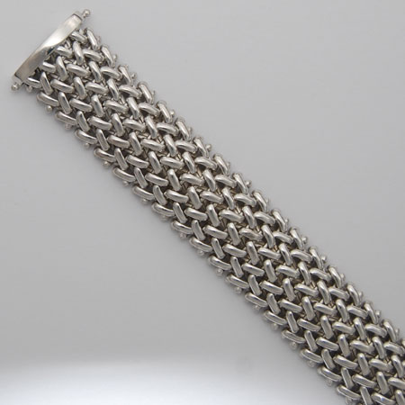 7.5-Inch Sterling Silver Basketweave 17.1mm Bracelet, Rhodium