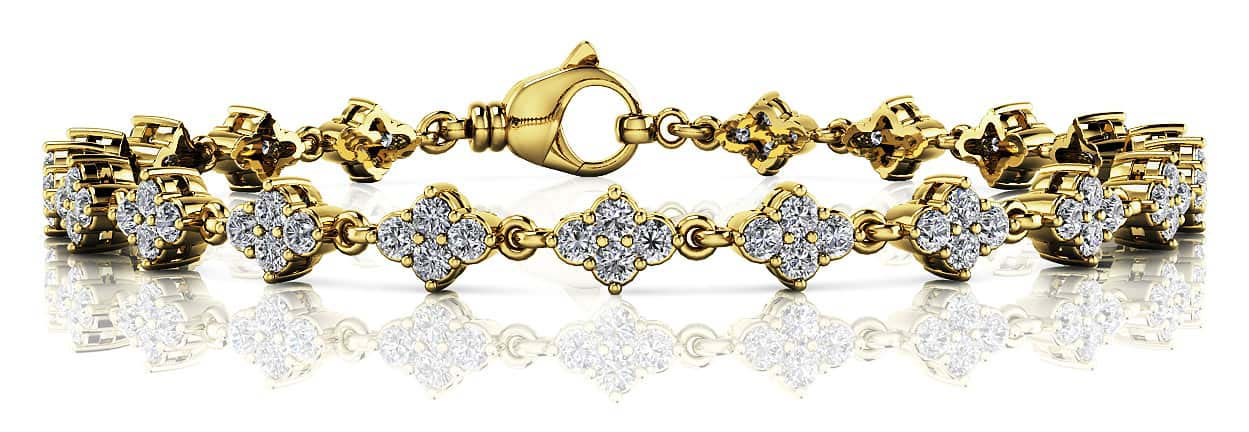 Flower Cluster Link Diamond Bracelet 1.75 Carat Total Weight