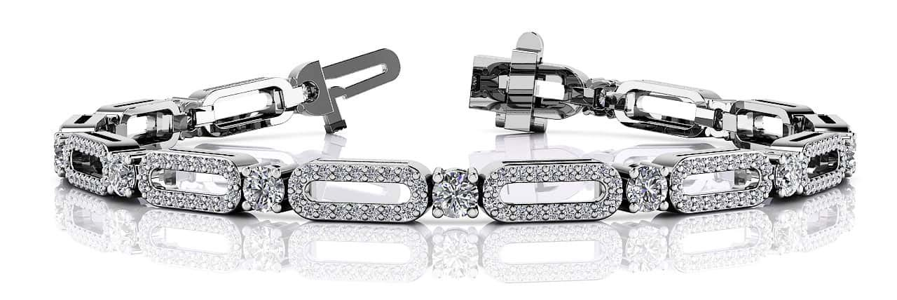 Victorian Capsule Link Diamond Bracelet 2.53 Carat Total Weight