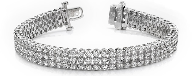 Triple Strand Diamond Bracelet 5.3 Carat Total Weight
