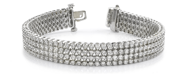 Four Row Diamond Bracelet 7 Carat Total Weight