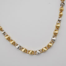 14K Yellow Gold / White Gold Hollow Graduated Fortune Cookie Link Necklace