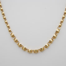 14K Yellow Gold Hollow Graduated Fortune Cookie Link Necklace