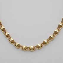 14K Yellow Gold Hollow Fortune Cookie Link Necklace