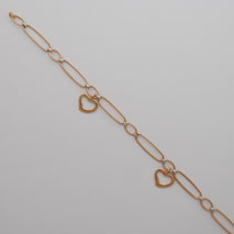 14K Yellow Gold / White Gold Link Necklace with Heart Drops